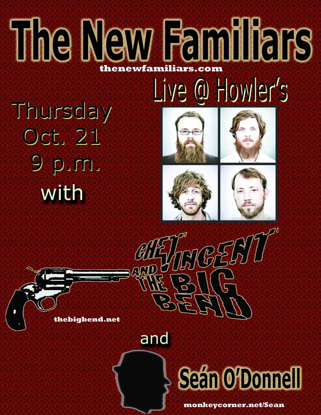 The New Familiars, Chet Vincent and the Big Bend, and Sean O'Donnell at Holwer's